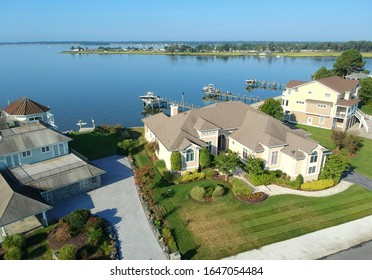Rehoboth Beach, Delaware, U.S.A - July 5, 2019 - The view of the luxury waterfront homes by the bay