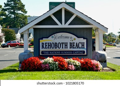 """Rehoboth Beach, Delaware, USA - September 17, 2017: A large welcome sign greets visitors to Rehoboth Beach, """"The Nation's Summer Capital""""."""