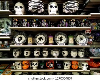 Rehoboth Beach, Delaware, U.S.A - September 1, 2019 - Halloween decoration on the shelves for sale in the store