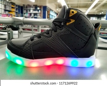Rehoboth Beach, Delaware, U.S.A - September 1, 2019 - Light up kid shoes by Sketchers