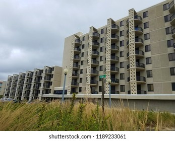 Rehoboth Beach, Delaware, U.S.A - September 22, 2018 - Beautiful structure and design of oceanfront condominiums near One Virginia Avenue
