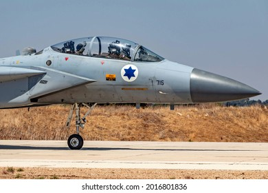 """Rehovot, Israel - July 02, 2018: Israeli Air Force F-15 """"Baz"""" fighter jet with a navigator waving from the back seat"""