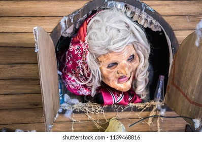 """REHOVOT, ISRAEL - JULY 4, 2018: Fairytale character """"Baba Yaga"""" - participant of Rehovot International Live Statues Festival"""