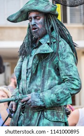 REHOVOT, ISRAEL - JULY 4, 2018: Pirate Captain Jack Sparrow - participant of Rehovot International Live Statues Festival