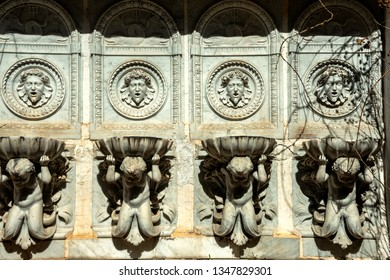 REICHENAU/ AUSTRIA MARCH 23, 2019: Fountain in Castle of Sisi and Rudolf, Austrian Monarchs in Reichenau, Lower Austria