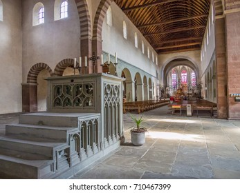 REICHENAU, GERMANY - SEP 26: Interiors of the Minster of St. Mary and Mark in Reichenau Island on September 26, 2013. The Monastic Island of Reichenau was declared a World Heritage Site in 2000.