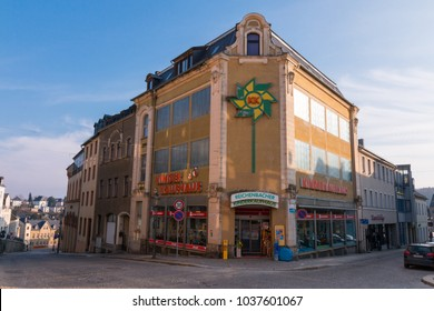 Reichenbach, Germany - March 2,2018: View of the children's department store in the small town of Reichenbach in Vogtland, Germany. Only toys for children are sold in the building.