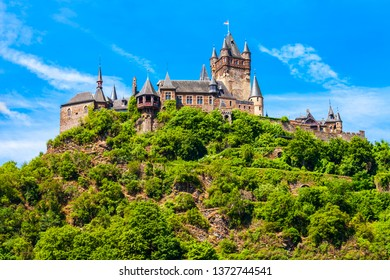 Reichsburg Castle aerial panoramic view in Cochem in Moselle valley, Germany