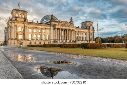 The Reichstag in Berlin, Germany, on a day in fall