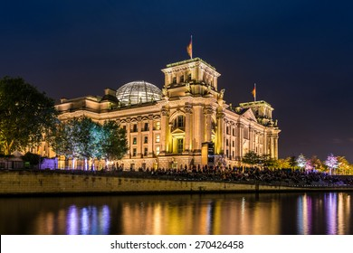 the Reichstag in Berlin at night, Germany