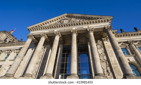 The Reichstag Building, Berlin, Germany - 6 Feb 2016: It is a historical edifice in Germany, constructed to house the Imperial Diet of the German Empire.