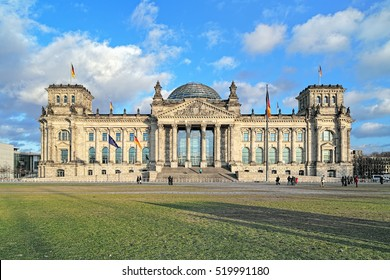 "Reichstag building in Berlin, Germany. Dedication on the frieze means ""To the German people""."