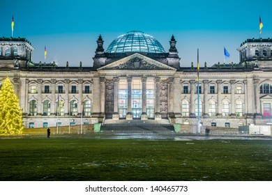 Reichstag building in Berlin, Germany on christmas