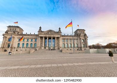 "Reichstag Building in Berlin, seat of the german Parliament (Deutscher Bundestag). Inscription translation: ""The German people"""