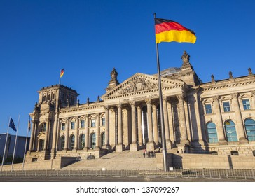 Reichstag building with German Flags