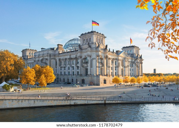 Reichstag building (german government) in Berlin, Germany at fall