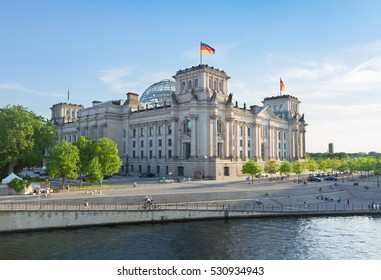 Reichstag building (german government) and river Spree in Berlin, Germany