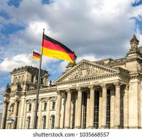 Reichstag building, seat of the German Parliament (Deutscher Bundestag), in Berlin, Germany
