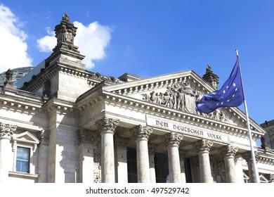 Reichstag building, seat of the German Parliament (Deutscher Bundestag), in Berlin Mitte district, Germany
