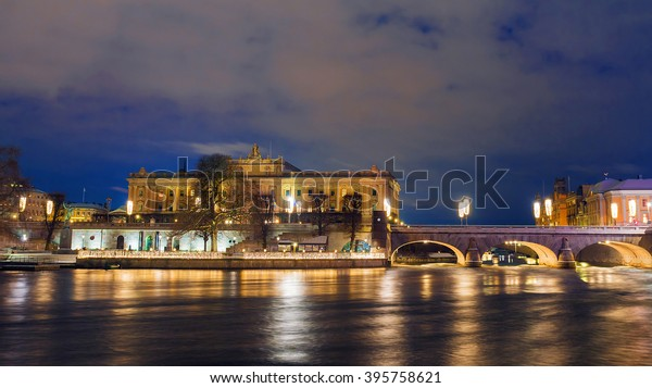 Reichstag building in Stockholm at night
