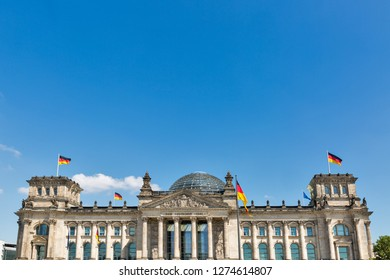 Reichstag or Bundestag building against clear blue sky with copy space, seat of the German Parliament.