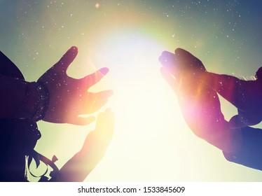 Reiki energy light worker hands photo illustration.
