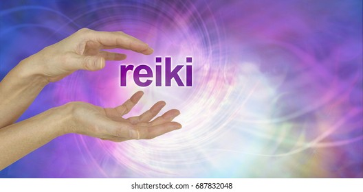 Reiki Share Invite background - female cupped hands with the word REIKI  floating between  on a swirling multicoloured background with copy space
