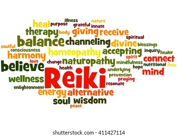 Reiki, word cloud concept on white background.