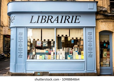 REIMS – CHAMPAGNE - FRANCE. AUGUST 17, 2017: Bookshop with wooden facade of ancient books with a retro charm. France.