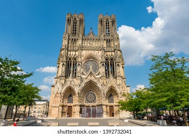 Reims, France /07-24-2018: View of the Cathedral of Reims France