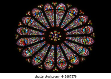 REIMS, FRANCE - APRIL 23, 2016: Detail of the rose window of the basilica of Saint-Remi, listed as a UNESCO World Heritage Site since 1991.