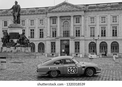 REIMS, FRANCE, February 1, 2019 : Start of Rallye in the streets of Reims. Rallye Historique is reserved to those cars which have participated in the Rallye Automobile Monte-Carlo before 1980.