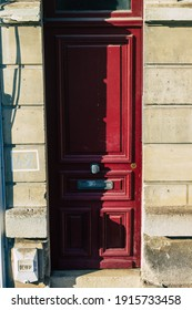 Reims France February 12, 2021 Door on the facade of a historical building located in Reims, a city in the Grand Est region of France and one of the oldest in Europe