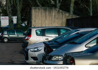 Reims France February 16, 2021 Various cars parked in the town of Reims because people stay at home during the pandemic affecting France