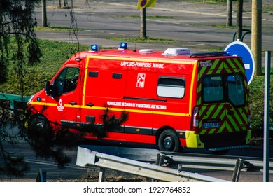 Reims France February 24, 2021 French fire engine rolling in the streets of Reims during the coronavirus outbreak hitting France