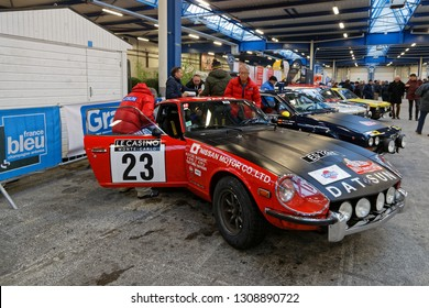 REIMS, FRANCE, January 31, 2019 : Racing cars gather in Parc des Expositions. Rallye Historique is reserved to those cars which have participated in the Rallye Automobile Monte-Carlo before 1980.