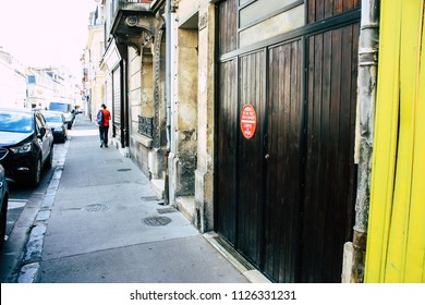 Reims France July 02, 2018 View of buildings in Rue Des Poissonniers street of the city of Reims in the morning