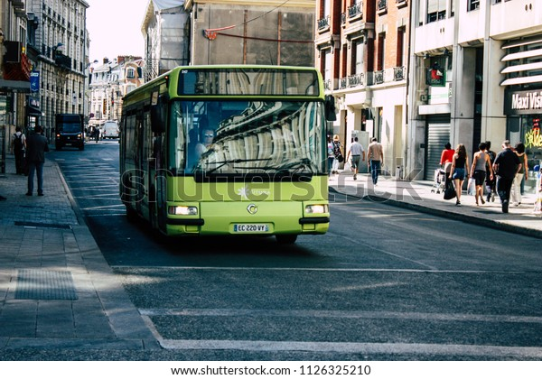Reims France July 02, 2018 View of the public transport bus of the city of Reims in France in the morning