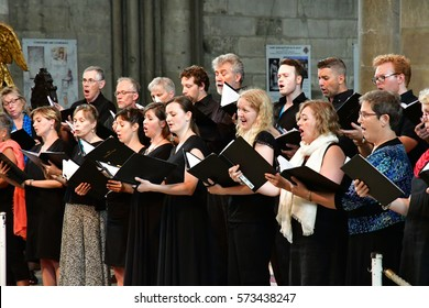 Reims, France - july 25 2016 : Canadian choral in the Notre Dame cathedral