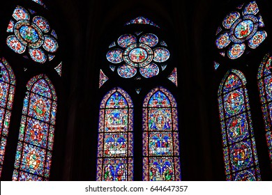 Reims, France - july 25 2016 : stained glass window of the Notre Dame cathedral where the kings of France were crowned