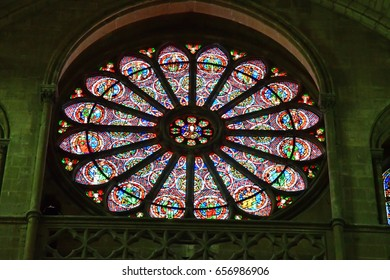 Reims, France - july 26 2016 : stained glass window of the Saint Remi basilica