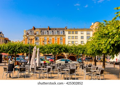 REIMS, FRANCE - JUN 9, 2015: Architecture of Reims, a city in the Champagne-Ardenne region of France.