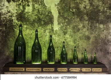 Reims, France - June 14, 2017: the caves of Champagne House Mumm with different sizes of bottles, France.