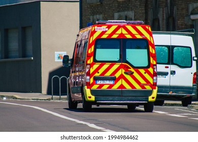 Reims France June 14, 2021 Fire engine driving through the streets of Reims during the coronavirus outbreak hitting France