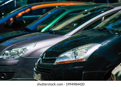 Reims France June 17, 2021 Cars parked in the streets of the city center of the metropolitan area