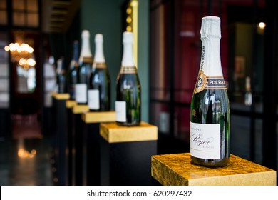REIMS, FRANCE MARCH 3 2017: Different Pol Roger Champagne bottles on display at the winery. Pol Roger produces around 110,000 cases of Champagne annually.