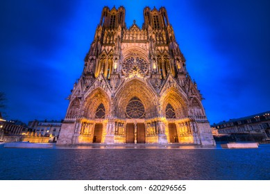 REIMS, FRANCE MARCH 4 2017: The Notre-Dame Cathedral of Reims lit up for the evening. The Cathedral is a UNESCO world heritage site.