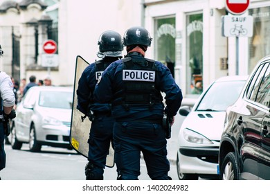 Reims France May 18, 2019 Close up of the French National Police in intervention against the rioters during protests of the Yellow Jackets in the streets of Reims on saturday afternoon