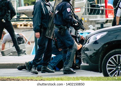 Reims France May 18, 2019 View of unknown rioter under arrest by the police in the streets of Reims during the protests of the Yellow Jackets on Saturday afternoon