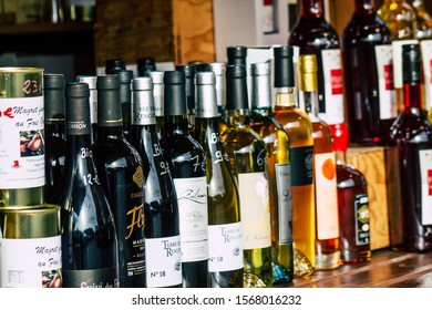 Reims France November 22, 2019 Closeup of various alcohol sold at the Christmas market of Reims in the afternoon